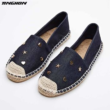 Fashion Ethnic Casual Espadrilles Flat 2018 New Women Star Moon Love Slip on Fishermen Hemp Rope Shoe