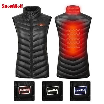 SNOWWOLF 2018 Women Winter Outdoor USB Infrared Heating Vest Jacket Electric Thermal Clothing Waistcoat For Sports Hiking