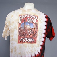 Rare 90s GRATEFUL DEAD T-SHIRT / 1990s European Tour Tie Dye Tee Shirt