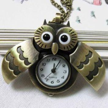 owl Pocket Watch locket Necklace by lifedream on Etsy