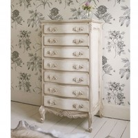 NEW! Delphine Shabby Chic Antique White Tallboy