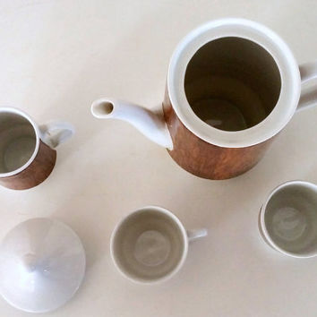 Mid CENTURY MODERN COFFEE Set  - German Fine China - Faux Bois - Modernism - Coffee Pot, 2 Coffee Cups - Espresso, Cream Pitcher -