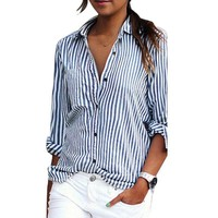 Striped Long Sleeve Button Down Loose Blouse
