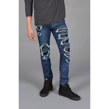 Distressed Leather Patched Jeans
