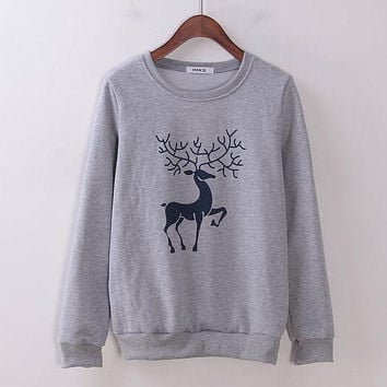 Christmas Deer Print Sweater B0014087