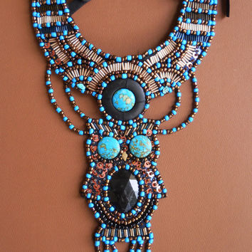 Blue turquoise  black bronze gold owl bead embroidery bib necklace by AniDandelion  Ani Jewelry Design  Anita Nestorovska Skopje Macedonia