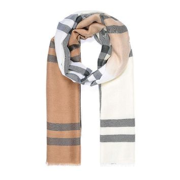 Ladies Women Ombre Checked 'Burberry' Look Tartan Print BEIGE Scarf Pashmina