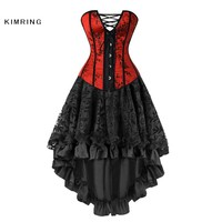 Kimring Sexy Overbust Corset and Bustier Waist Trainer Gothic Corset Dress Vintage Steampunk Bustier Top Corset Dress