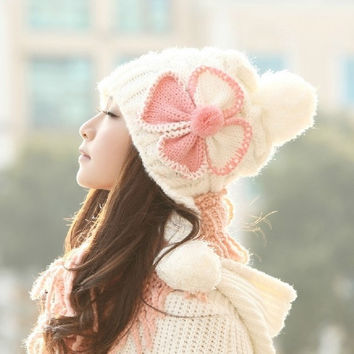 Winter hats Korean cute wool cap Female cotton balls hat  Knitted flower hat Ear warm White = 1930558852