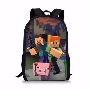 FORUDESIGN Minecraft Backpack Cartoon Printing Children Schoolbag For Teenager Boy And Girls Famous Brand High QualitySac A Dos