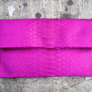 Pink Fuschia Fold Over Python Snakeskin Leather Clutch
