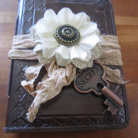 Maid of Honor Gift Small Brown Leather Journal/Notebook with Vintage Styled Burlap Silk Flower