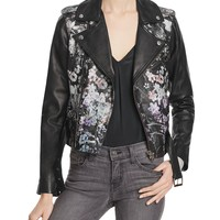 ParkerCooper Floral Print Leather Jacket
