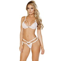 Sexy Bridal Floral Lace Strappy Bra and G-String Set