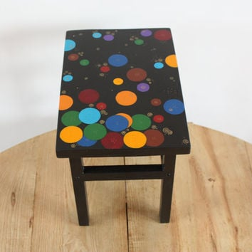 Painted furniture - wooden bench - wood furniture - wooden stool - black bench - stool - colorful bubbles - housewarming gift - stool