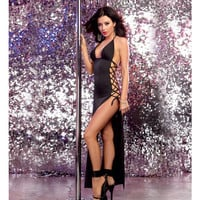 Stretch Jersey Full Length Unlined Halter Dress W-open Sides & Adjustable Lace Up Ties Black O-s