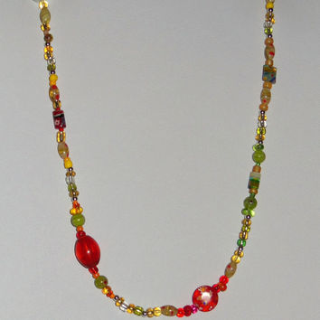 Beaded Glass Necklace, One-of-a-Kind