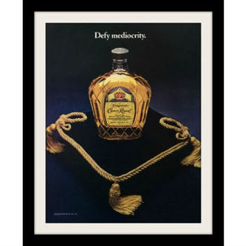"1978 CROWN ROYAL Bottle Whisky Ad ""Defy Mediocrity"" Vintage Advertisement Print"