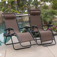 2X Zero Gravity Chair Lounge Patio Folding Recliner Outdoor W/Cup Holder 4 Color