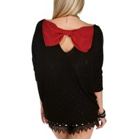 Red/Black Bow Back Dolman Top