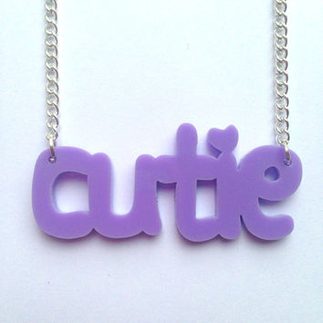 Kawaii Fairy Kei Pastel Lilac Cutie Word Laser Cut Necklace