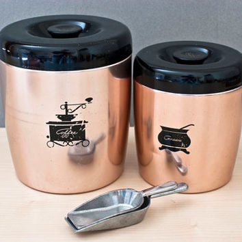 West Bend Pink Copper Toned Aluminum Canisters, Black Lids, Coffee, Grease Jar with Strainer