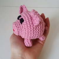 Crochet stuffed animal, Little Pig, Cute Small Stuffed Animal Amigurumi, Sweet Little Piglet, Farm Animal, Handmade, Made to Order