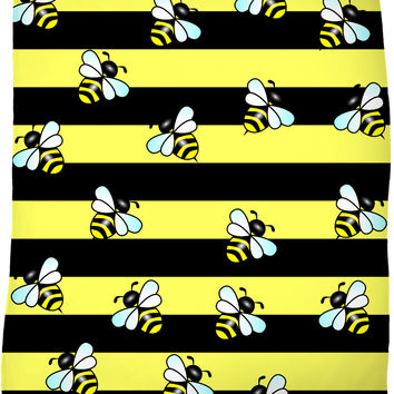 Wasp stripes and cartoon wasps pattern throw blanket, thick stripes themed fleece