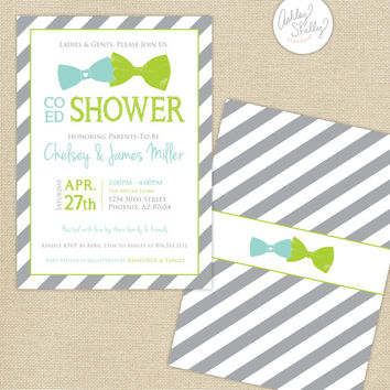 Co-Ed Baby Shower Bows and Bowties Stripes Invitation : Aqua/Lime/Gray