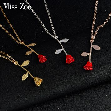 Beauty and the Beast Rose Necklace Fashion Accessories Final Rose Charm Pendant Rose Gold Silver Gold Love Gift For Women