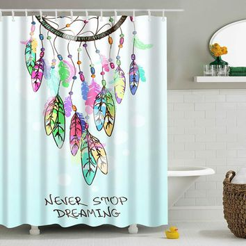 180*180 CM SPA Waterproof Shower Curtain Digital Colorful A Printing Bathroom Decoration With Hooks High-quality