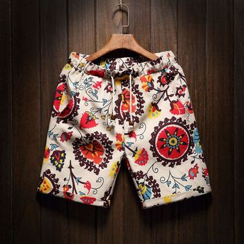 New mens beach shorts printing flower summer section breathable comfort casual male linen cutton Lacing Five points short pants