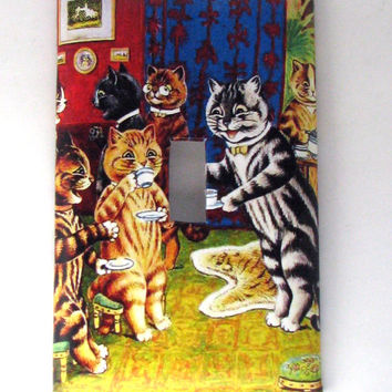 Double Light Switch Cover - Light Switch Plate CAt Tea Party Louis Wain