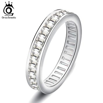ORSA JEWELS Wedding Bands Silver Color Ring Full Invisible Setting Retangel CZ Eternity Rings for Women Engagement Gift OR62