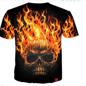 Skull Head Fire Print 3D Print Both Side Hip Hop Short Sleeve Mens