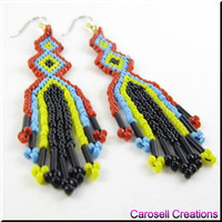 Colorful Native American Style Beadwork Seed Bead Earrings