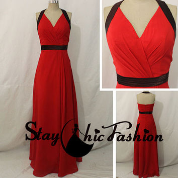 Red V Neck Halter Chiffon Bridesmaid Dress, Womens Long Red Backless Prom Dress