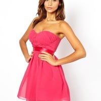 Elise Ryan Bandeau Dress with Satin Waist