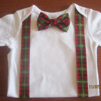 Boy red green plaid X - mas outfit, Boy christmas Onesuit, Baby christmas bodysuit, Boy red green plaid onsie, boy Christmas neck tie outfit