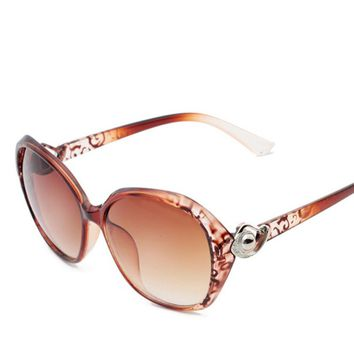 Fashion Resin Lens Eyewears Darkbrown Frame Anti-UV Sunglasses for Women
