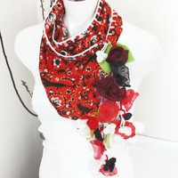 Red triangle scarf, Red scarf, Ethnic Turkish fabric, Black cat scarf, Ethnic accessories, Handmade fabric, Women's accessories