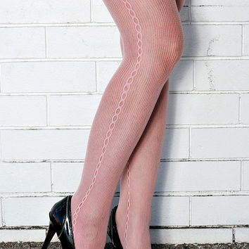 Vintage High Quality Tea Rose Side Seamed Steampunk, Punk, Mod Nylon Tights Pantyhose One Size