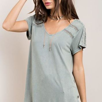 Sage Top with Crochet Detail