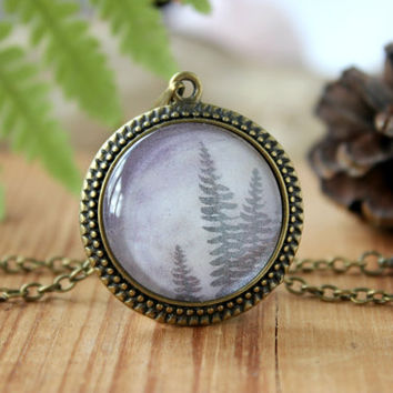 Fern Leaves Necklace, Antique Bronze Pendant,Glass Cabochon Pendant With Chain