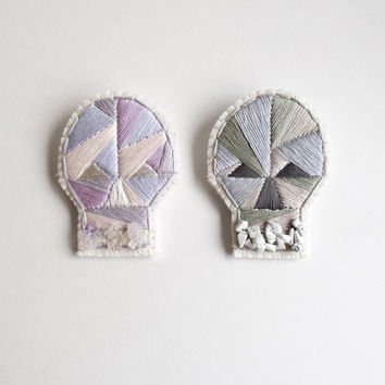 Skull brooch with geometric design hand embroidered with gems on cream muslin in dark blue, lavender or grays Halloween Day of the Dead