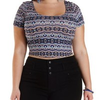 Plus Size Geometric Print Caged-Back Crop Top
