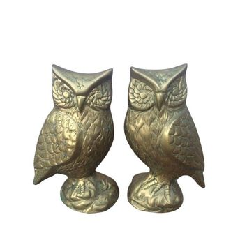 Pre-owned Vintage Brass Owl Figurines - A Pair
