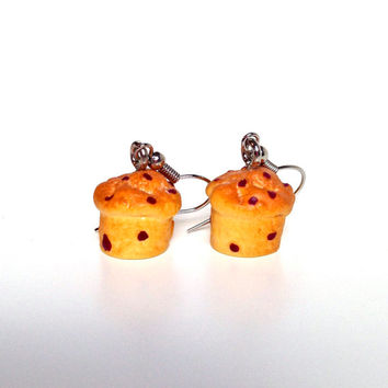 Muffin earrings, chocolate chip muffin earrings, miniature food earrings, muffin dangle earrings, food jewelry, bakers gift idea