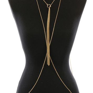 Body Chain Rope Chain Necklace And Metal Ring Pull Through Double Chain