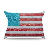 "Beth Engel ""Red White and Glitter"" Flag Pillow Sham"